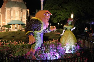 Flower Power - Beauty and Beast topiary at Night