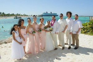 Wedding party at beach